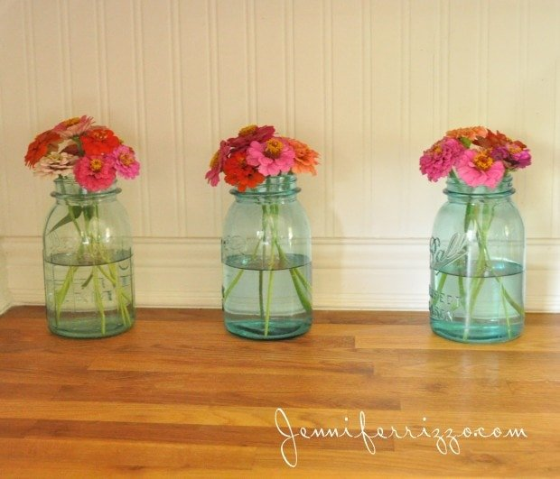 Zinnia's in blue canning jars