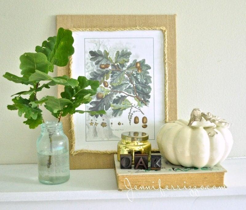 Oak leaf vignette and printable for fall