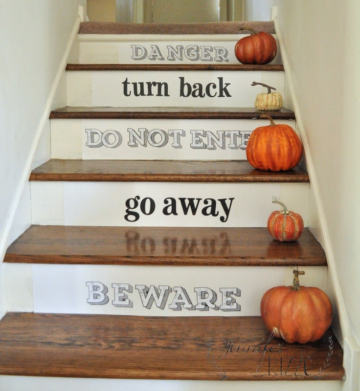 Carved Wood Stair Risers Stair Ideas Stamped Leather: Make Some Spooky Stairs