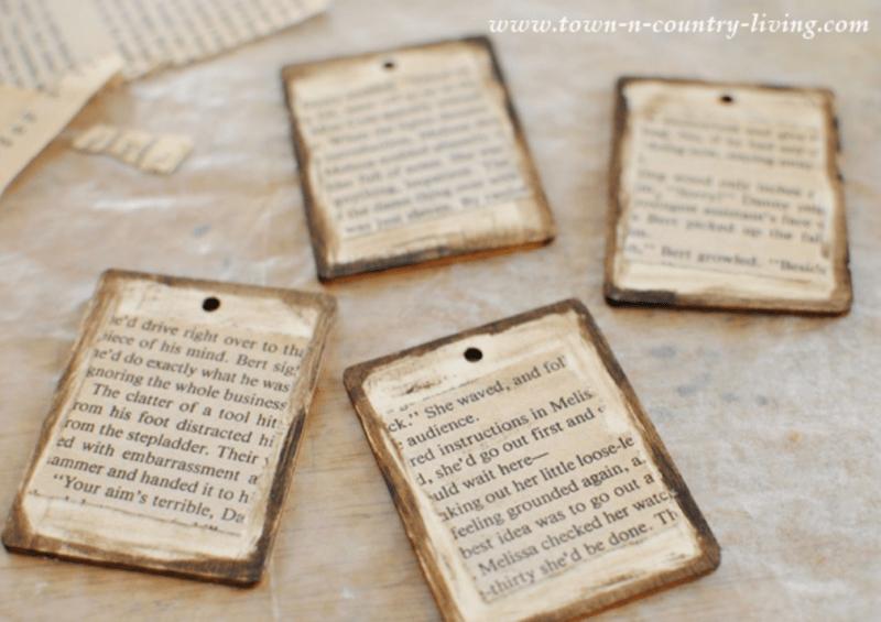 DIY Book page wood tags