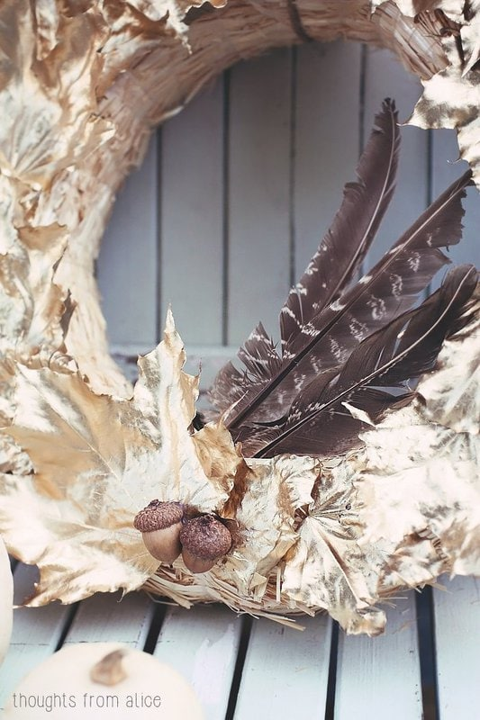 Feathers add a nice adornment to a fall wreath