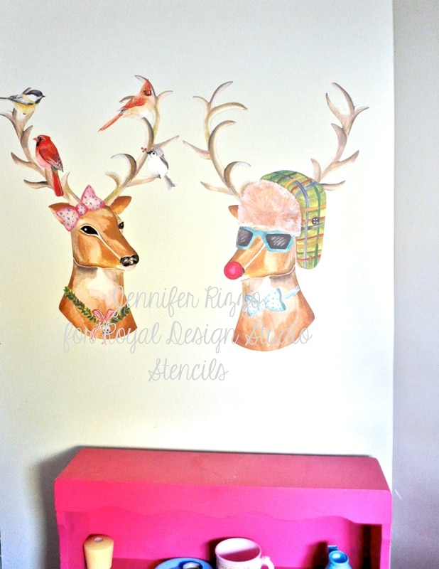 Christmas Wall Decoration Pinterest : Christmas wall decor reindeers and trees snowflakes