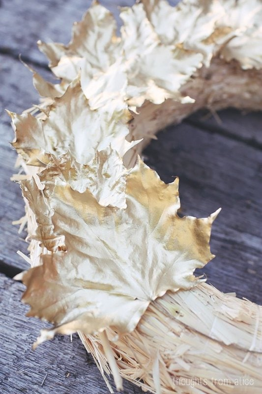 Pretty gold leaves spray painted