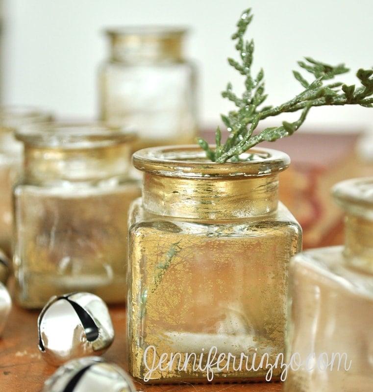 Upcycled Craft DIY Gold Antiqued Glass Bottles
