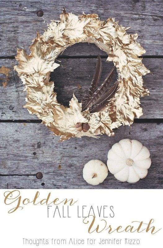 DIY gold leaf wreath #fallcrafts #goldleaves #leafcraft