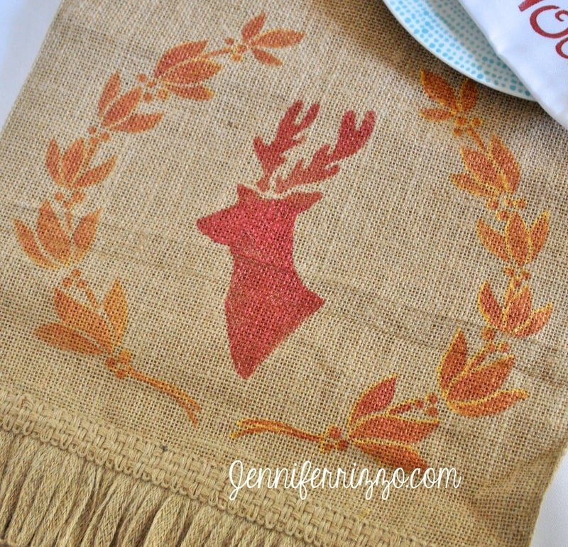 Stenciled deer and garland table runner