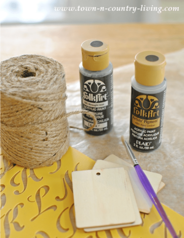Wood craft tags with stencils