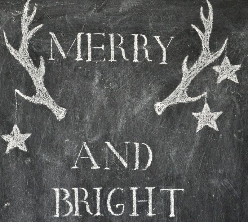 Easy stenciled  holiday chalkboard art