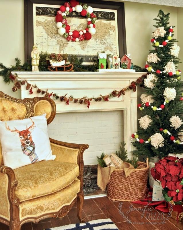 My pom pom Christmas tree with Balsam Hill