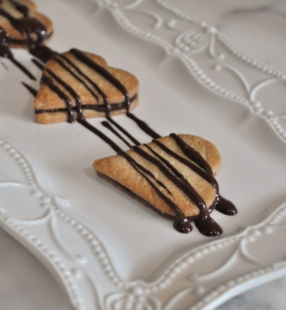 Pie crust cookies with chocolate drizzle