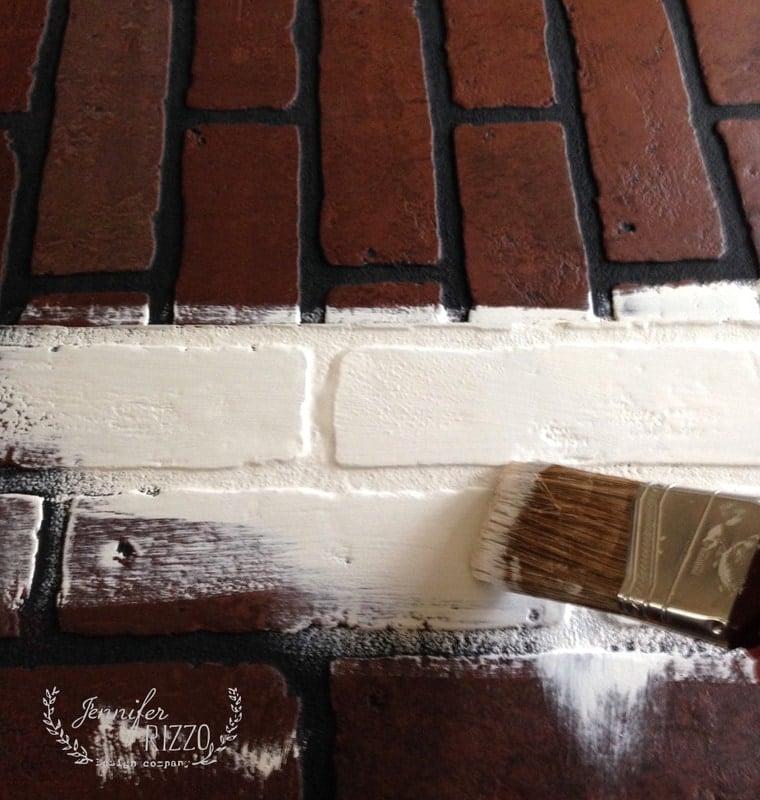 Faux brick wall fireplace mantel backdrop