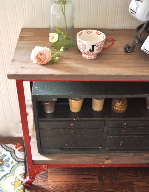 barn wood inspired top on vintage industrial cart
