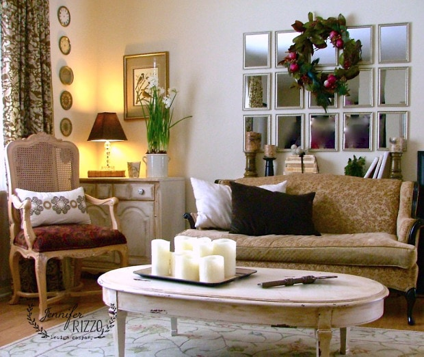 living room, love the idea of little mirrors made into one big one