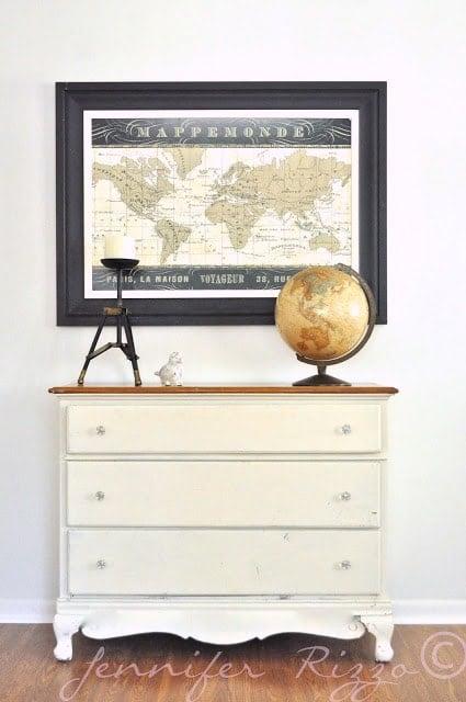 vintage dresser and old map
