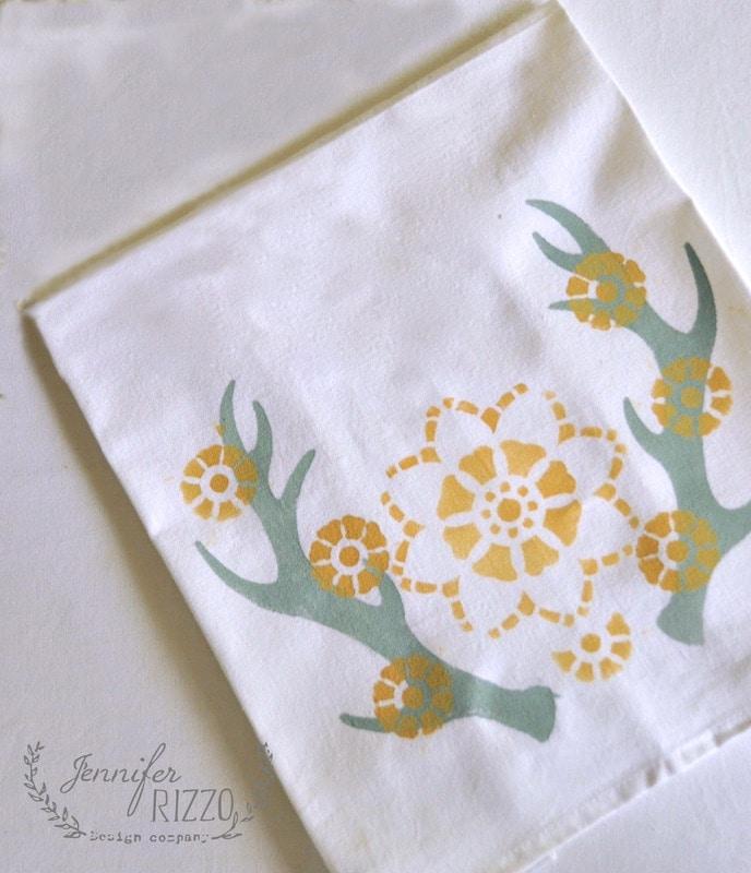 Antler and flower stenciled tea towels