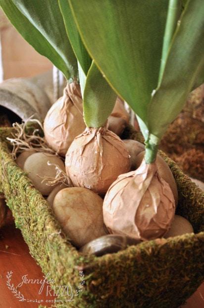 Brown paper bag faux tulip bulbs