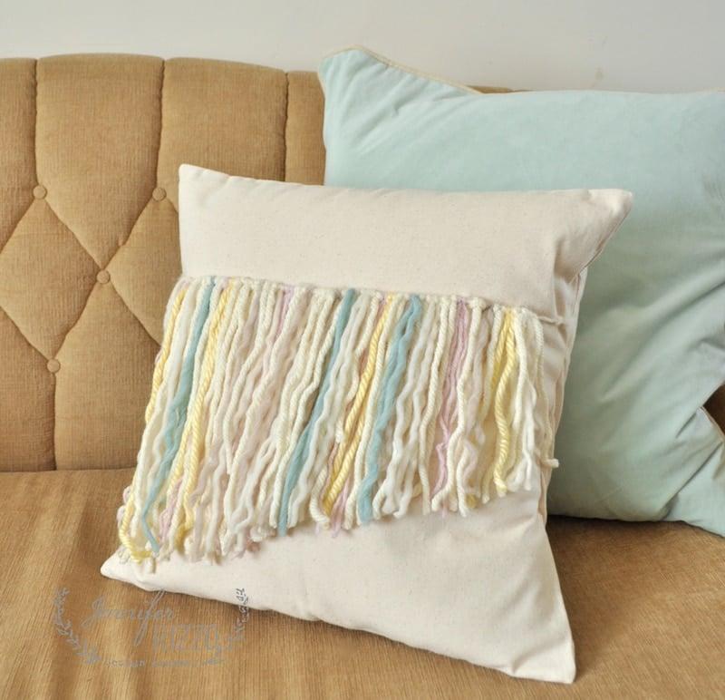 DIY yarn fringe pillow