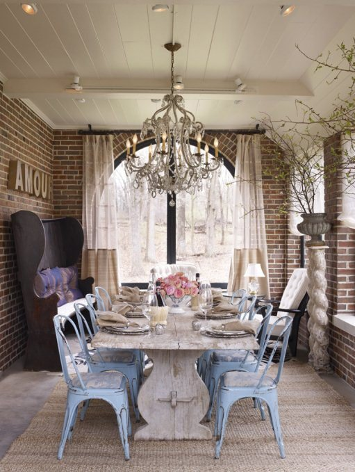 Brick wall dining room, Tolix chairs and pretty chandelier…Create this space
