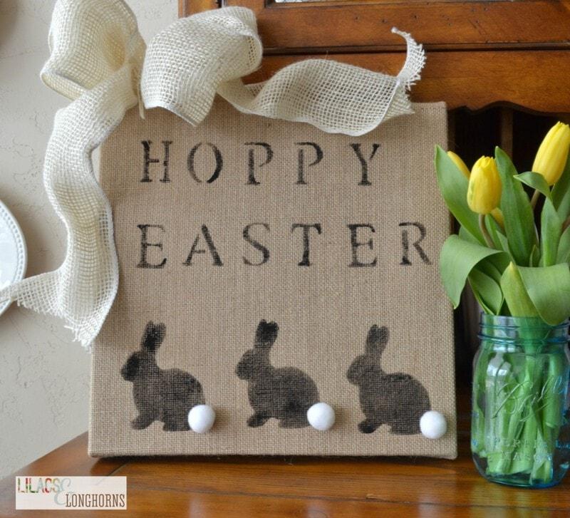 Easy DIY Easter burlap canvas sign