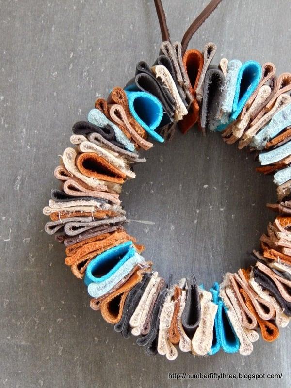 DIY leather wreath