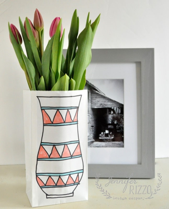 No vase? use a paper lunch bag with one drawn on, and a recycled jat inside for your flowers!