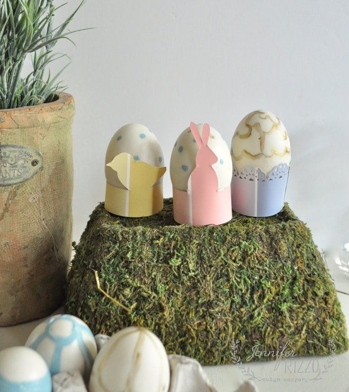 Paint strip egg holders and DIY paper flower vase for Easy Easter and spring crafts