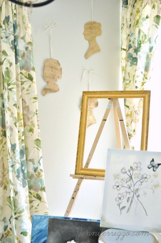 Gold and watercolor in a boho art studio livng space