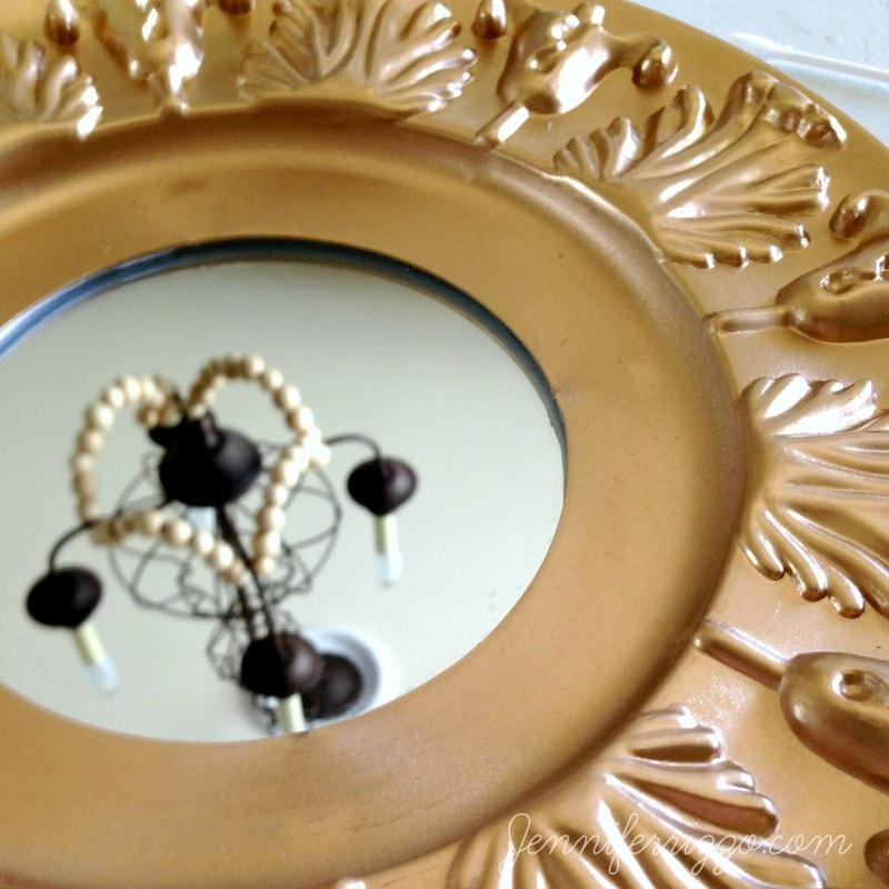 Easy DIY ceiling medallion mirror