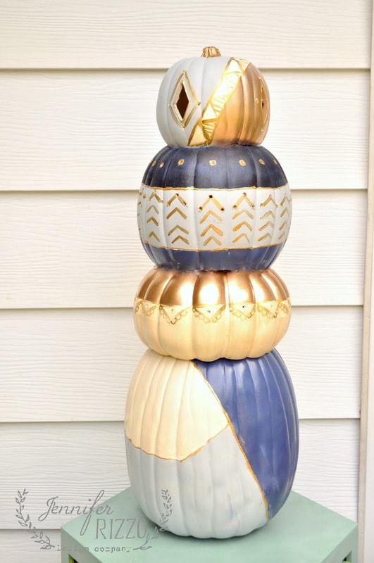 DIY boho pumpkin topiary