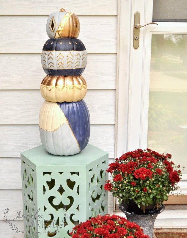 boho pumpkin topiary