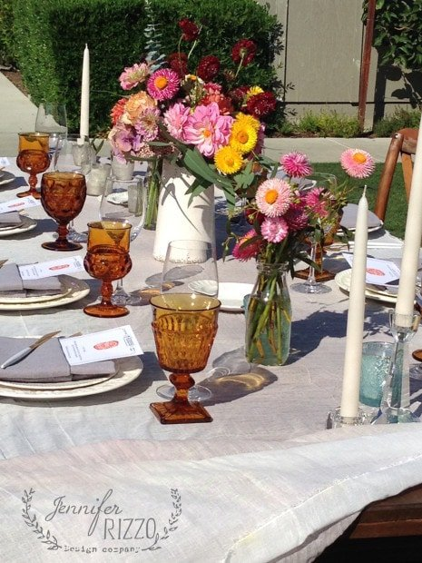 table setting with vintage table ware