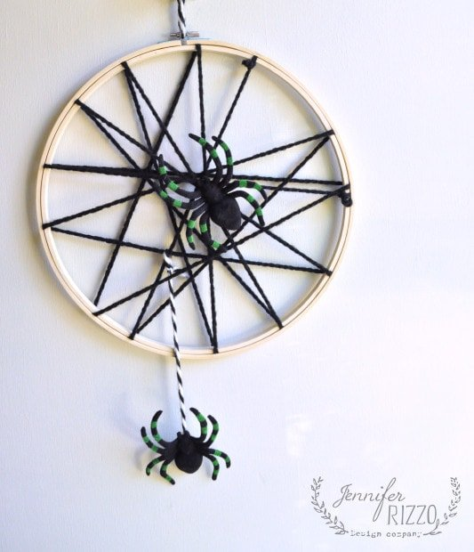 Easy halloween embroidery hoop spider web weaving