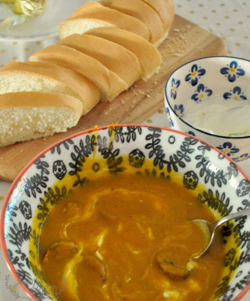 Roasted pumpkin soup.with chicken kale sausage. So yummy and agreat way to serve pumpkin