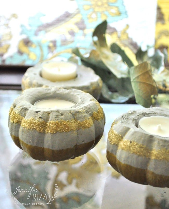 Make mini-concrete pumpkins