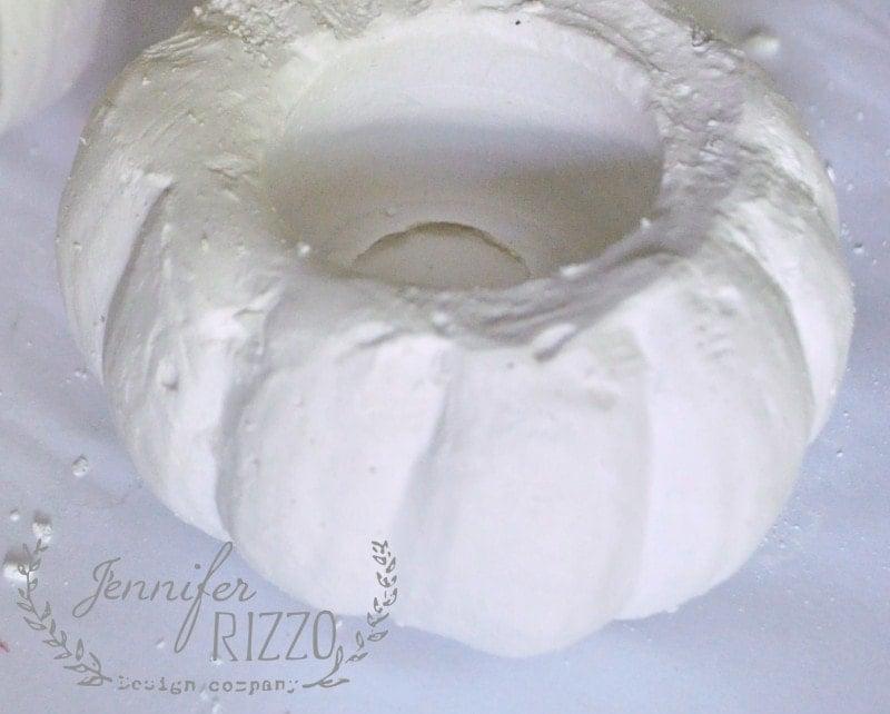 mini pumpkin cast in plaster
