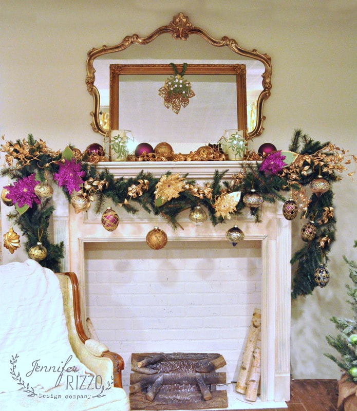 Christmas mantel decorating idea with plum and gold