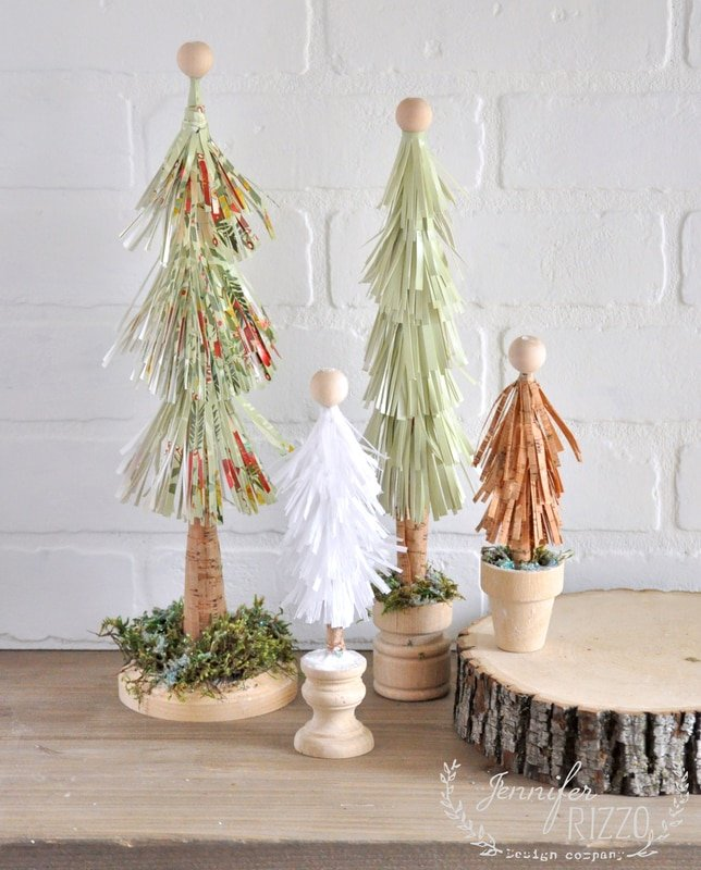 Recycled paper fringe trees