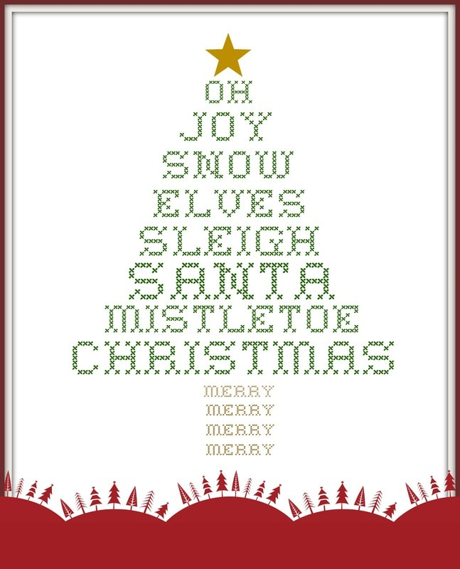 cross stitch Christmas tree printable - Jennifer Rizzo