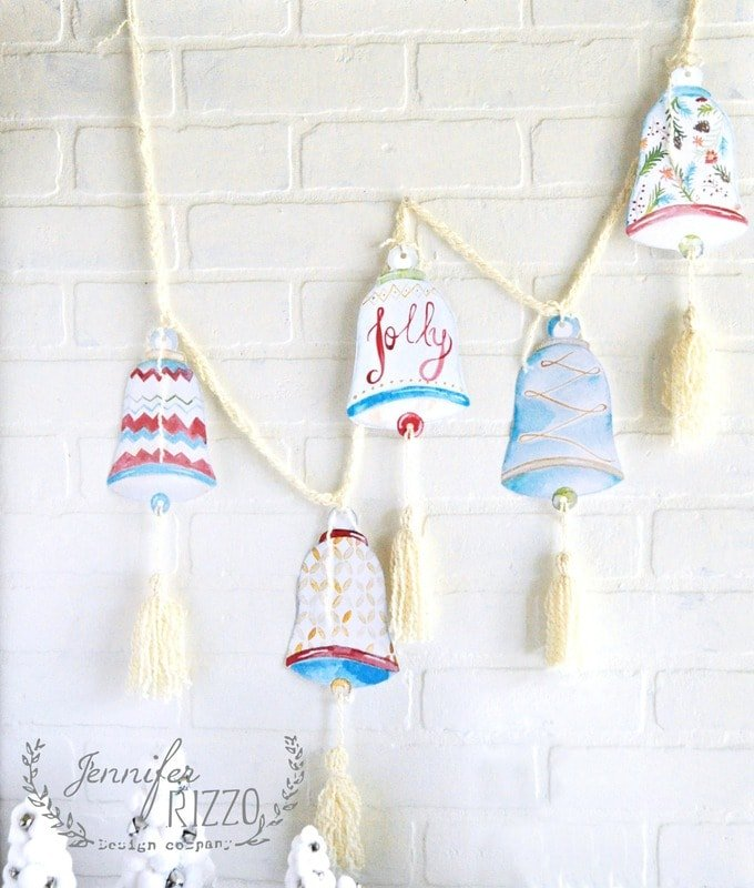 Fun printable paper bell garland with tassels