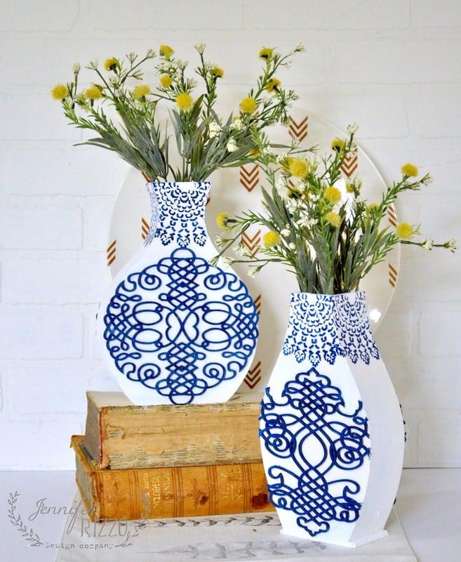 DIY wood blue and white vases