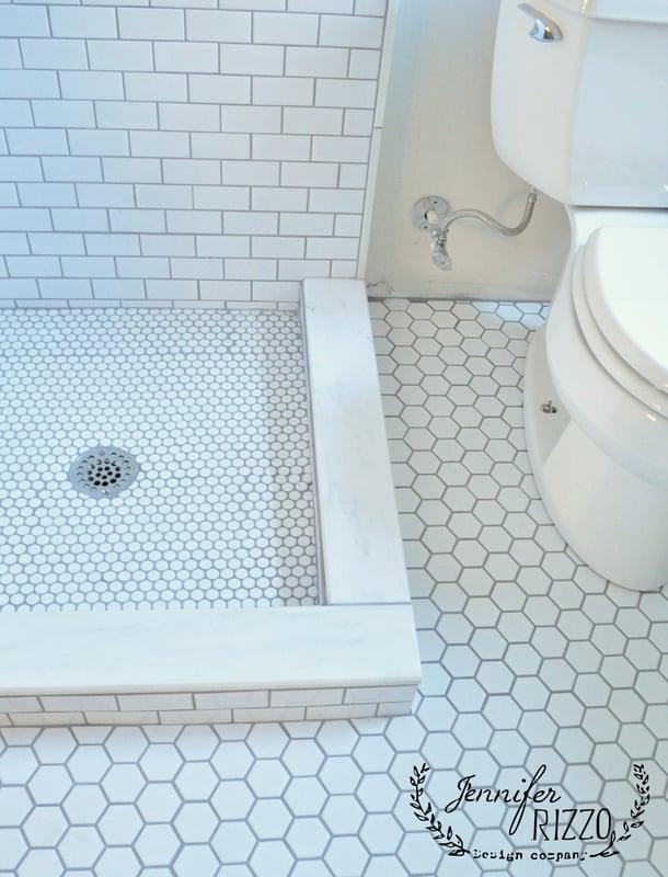 White mixed matte tiles in bathroom remodel - Jennifer Rizzo