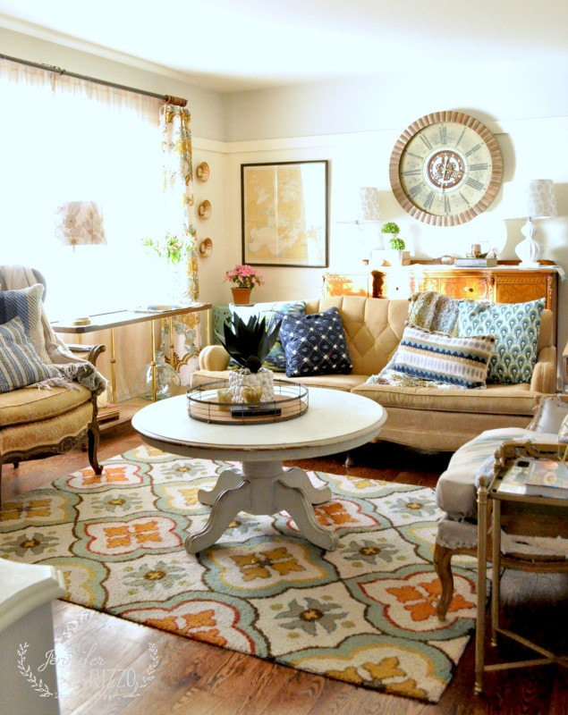 Boho inspired small house living room