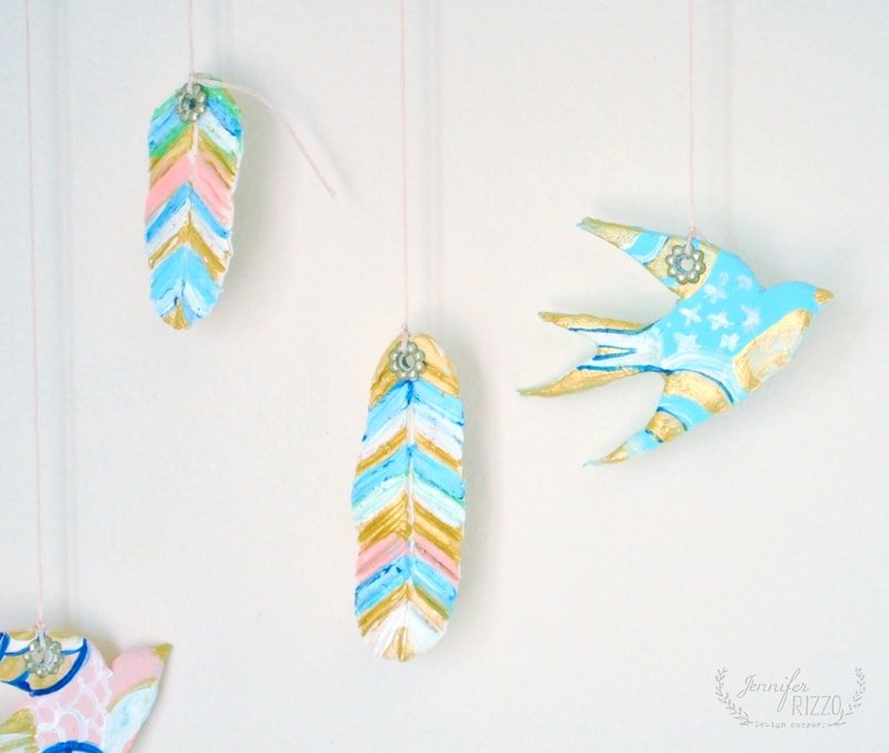 DIY clay bird and feather wall hanging