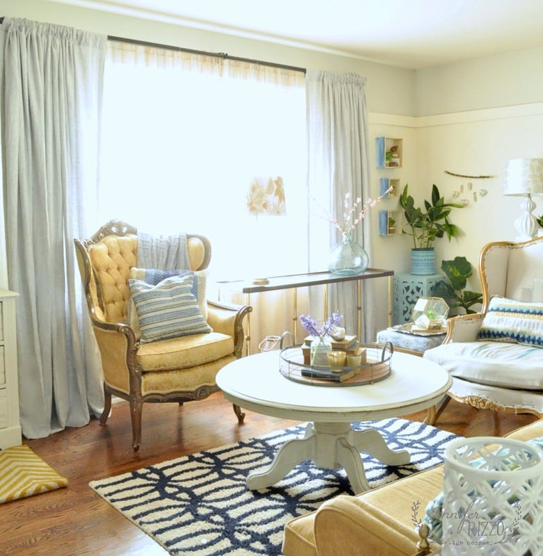 Bohemian And Modern Living Room With Gray Linen Drapes