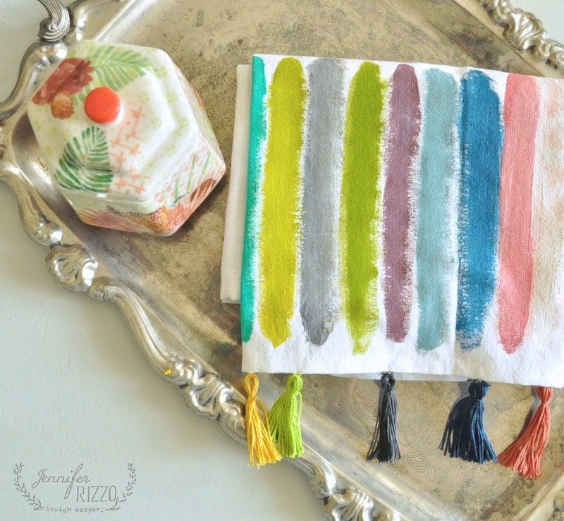 DIY paint stripe towels