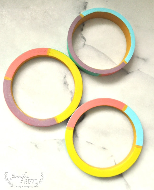color-blocked wooden bangle bracelet