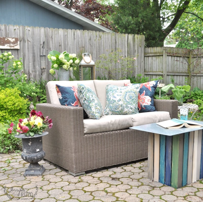 Patio refresh and coastal inspired crate table
