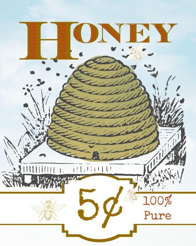 Free Vintage-Inspired Honey Label Printable