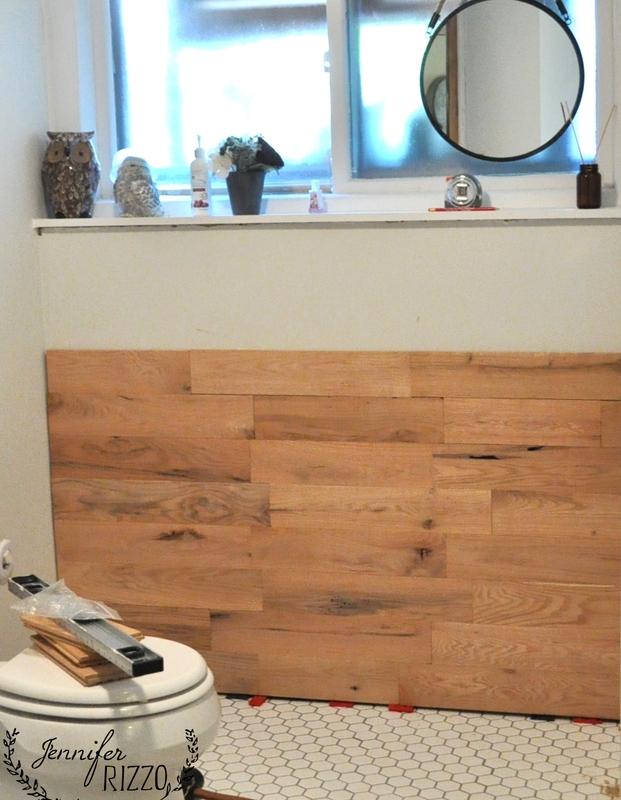 Wood flooring as wood accent wall progress
