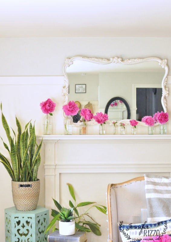 Peonies on a faux mantel
